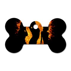 Heart Love Flame Girl Sexy Pose Dog Tag Bone (Two Sides)