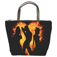 Heart Love Flame Girl Sexy Pose Bucket Bags