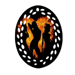 Heart Love Flame Girl Sexy Pose Oval Filigree Ornament (two Sides)
