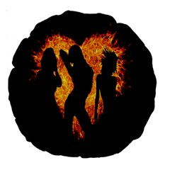 Heart Love Flame Girl Sexy Pose Large 18  Premium Round Cushions