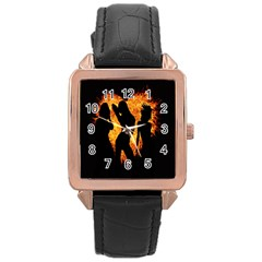Heart Love Flame Girl Sexy Pose Rose Gold Leather Watch