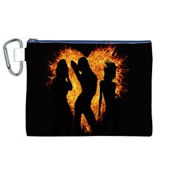 Heart Love Flame Girl Sexy Pose Canvas Cosmetic Bag (XL)