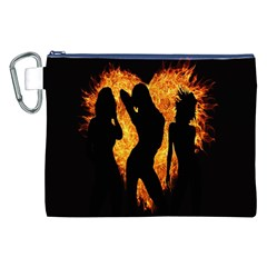 Heart Love Flame Girl Sexy Pose Canvas Cosmetic Bag (XXL)