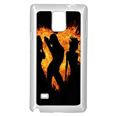Heart Love Flame Girl Sexy Pose Samsung Galaxy Note 4 Case (White)