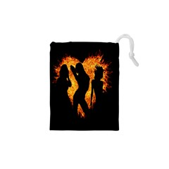 Heart Love Flame Girl Sexy Pose Drawstring Pouches (xs)