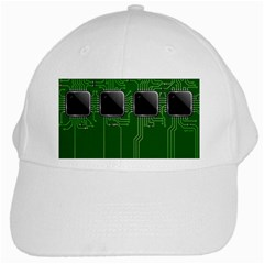 Green Circuit Board Pattern White Cap