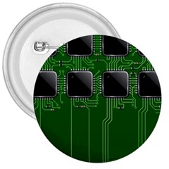 Green Circuit Board Pattern 3  Buttons