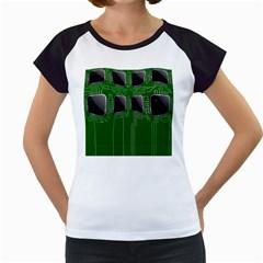 Green Circuit Board Pattern Women s Cap Sleeve T