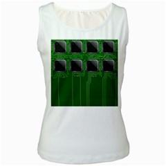 Green Circuit Board Pattern Women s White Tank Top