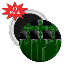 Green Circuit Board Pattern 2.25  Magnets (10 pack)