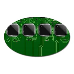Green Circuit Board Pattern Oval Magnet