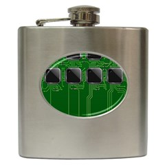 Green Circuit Board Pattern Hip Flask (6 oz)
