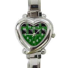 Green Circuit Board Pattern Heart Italian Charm Watch