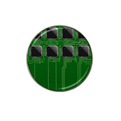 Green Circuit Board Pattern Hat Clip Ball Marker (4 pack)