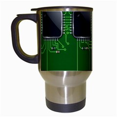 Green Circuit Board Pattern Travel Mugs (White)