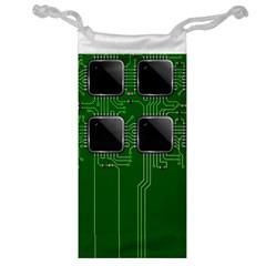Green Circuit Board Pattern Jewelry Bag