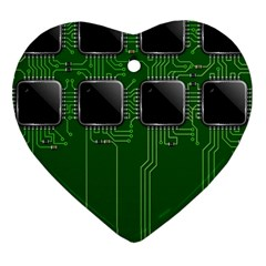 Green Circuit Board Pattern Heart Ornament (Two Sides)