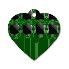 Green Circuit Board Pattern Dog Tag Heart (Two Sides)