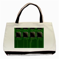 Green Circuit Board Pattern Basic Tote Bag (Two Sides)