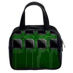 Green Circuit Board Pattern Classic Handbags (2 Sides)