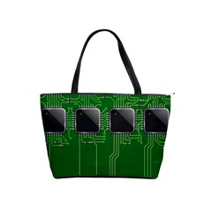 Green Circuit Board Pattern Shoulder Handbags