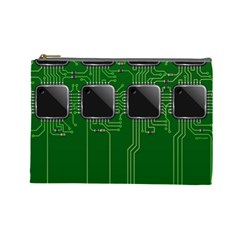 Green Circuit Board Pattern Cosmetic Bag (Large)