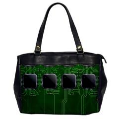 Green Circuit Board Pattern Office Handbags