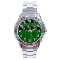 Green Circuit Board Pattern Stainless Steel Analogue Watch