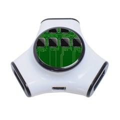Green Circuit Board Pattern 3-Port USB Hub