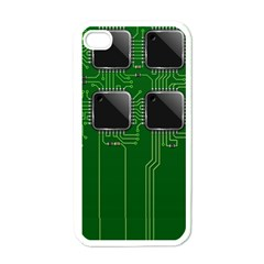 Green Circuit Board Pattern Apple iPhone 4 Case (White)