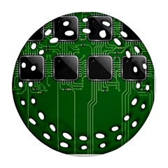 Green Circuit Board Pattern Round Filigree Ornament (Two Sides)