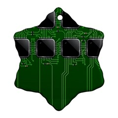 Green Circuit Board Pattern Snowflake Ornament (Two Sides)