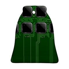 Green Circuit Board Pattern Bell Ornament (Two Sides)