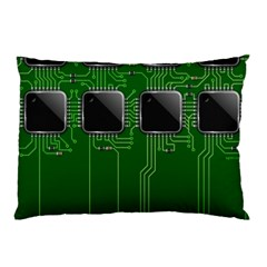 Green Circuit Board Pattern Pillow Case (Two Sides)