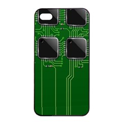 Green Circuit Board Pattern Apple iPhone 4/4s Seamless Case (Black)