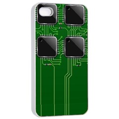 Green Circuit Board Pattern Apple iPhone 4/4s Seamless Case (White)