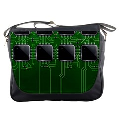 Green Circuit Board Pattern Messenger Bags