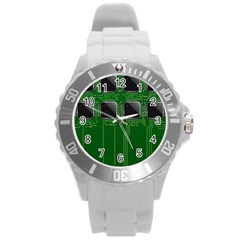 Green Circuit Board Pattern Round Plastic Sport Watch (L)