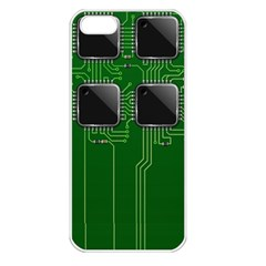 Green Circuit Board Pattern Apple iPhone 5 Seamless Case (White)