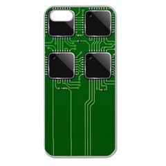 Green Circuit Board Pattern Apple Seamless iPhone 5 Case (Clear)