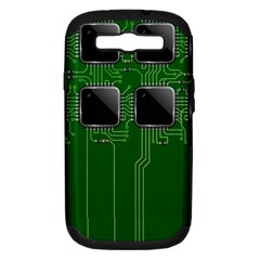 Green Circuit Board Pattern Samsung Galaxy S III Hardshell Case (PC+Silicone)
