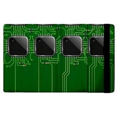 Green Circuit Board Pattern Apple iPad 2 Flip Case