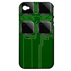 Green Circuit Board Pattern Apple Iphone 4/4s Hardshell Case (pc+silicone)