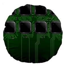 Green Circuit Board Pattern Large 18  Premium Round Cushions