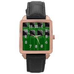 Green Circuit Board Pattern Rose Gold Leather Watch