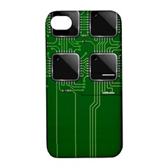 Green Circuit Board Pattern Apple iPhone 4/4S Hardshell Case with Stand
