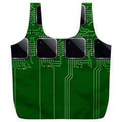 Green Circuit Board Pattern Full Print Recycle Bags (l)