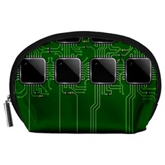 Green Circuit Board Pattern Accessory Pouches (Large)