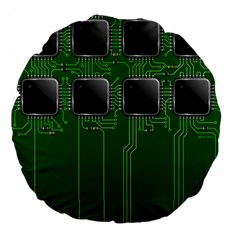 Green Circuit Board Pattern Large 18  Premium Flano Round Cushions