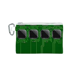 Green Circuit Board Pattern Canvas Cosmetic Bag (s)